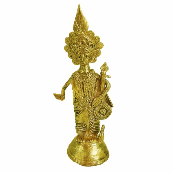 Traditional Beautiful Handcrafted Dokra Saraswati Statue For Home Decor And Office