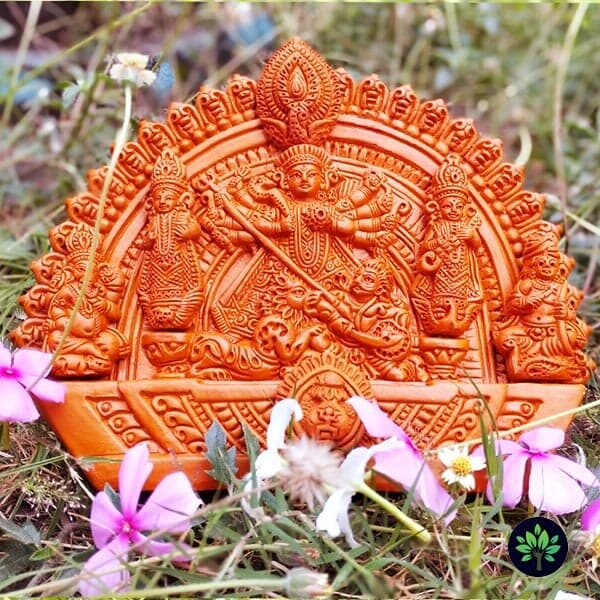 Beautifully Terracotta Clay Crafted Durga Statue